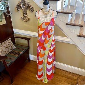 Ivy Lane vibrant colored w/ gold straps maxi dress